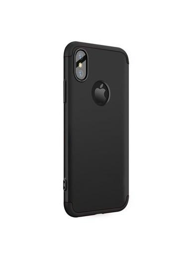 Microsonic iPhone X Kılıf Double Dip 360 Protective  Siyah